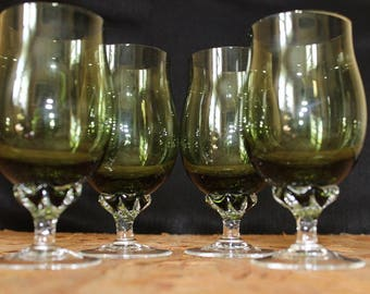 Sasaki  Coronation Green Wine Glasses, Set of 4