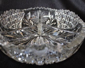 Antique American Brilliant Glass Divided  Candy Bowl