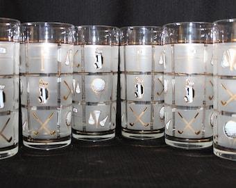 Culver Fairway Golf Tumbler Highball Glasses, Set of Six