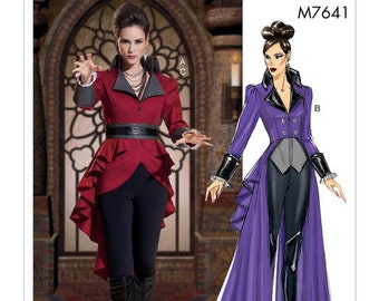 cheapest shipping steampunk costume pattern mccalls 7641 size6 14 evil queen once upon a time coat and jacket pattern new uncut