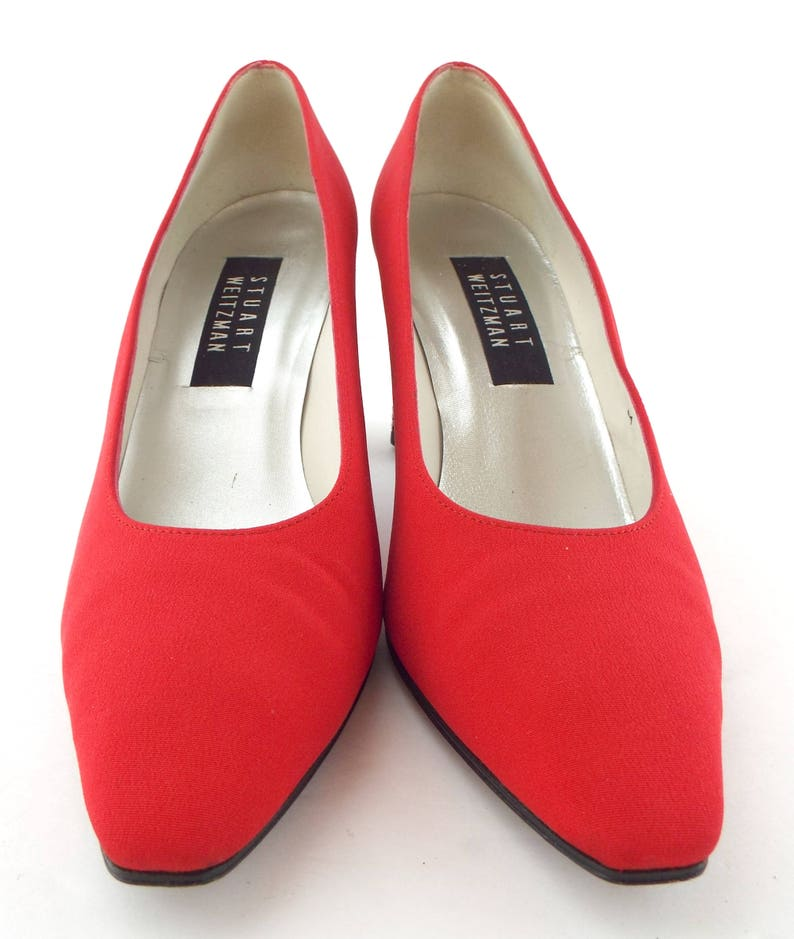 b5528179c46 Vintage STUART WEITZMAN Size 8 Red Fabric Pumps Crystal Heels