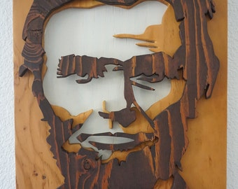 Abraham Lincoln Wood Cut Relief