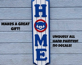 "CHICAGO CUBS ""HOME"" Wood Decor Sign 