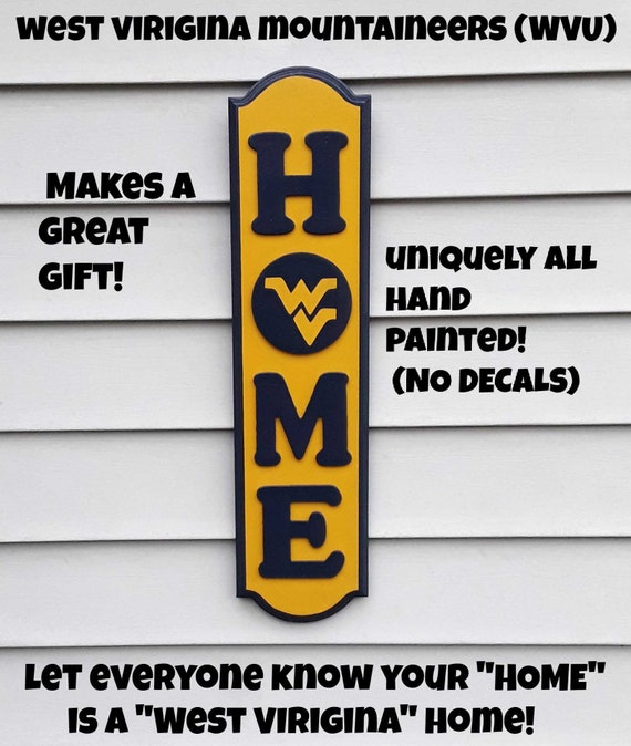 West Virginia Mountaineers HOME Wood Decor Sign