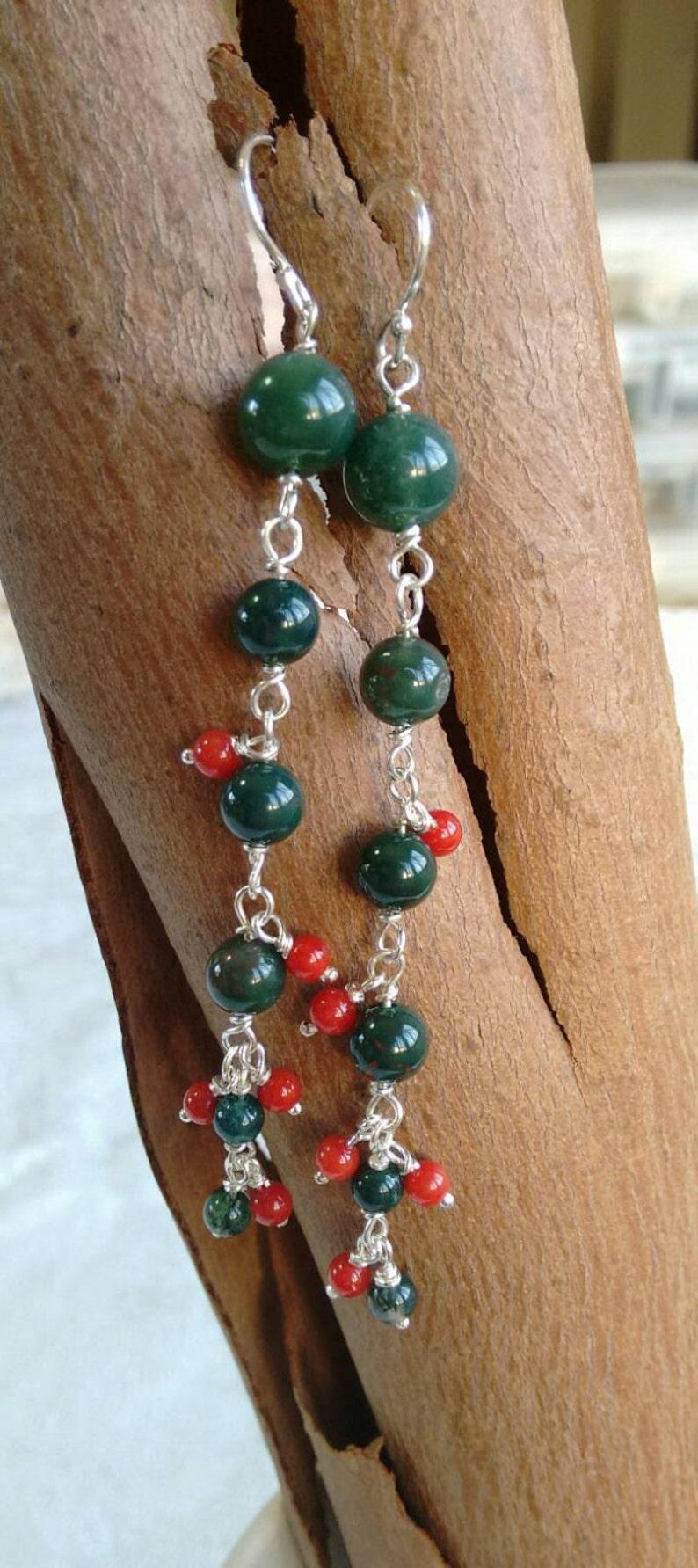 Green Moss Agate Earrings Red Coral Sterling Silver Fun Earrings.