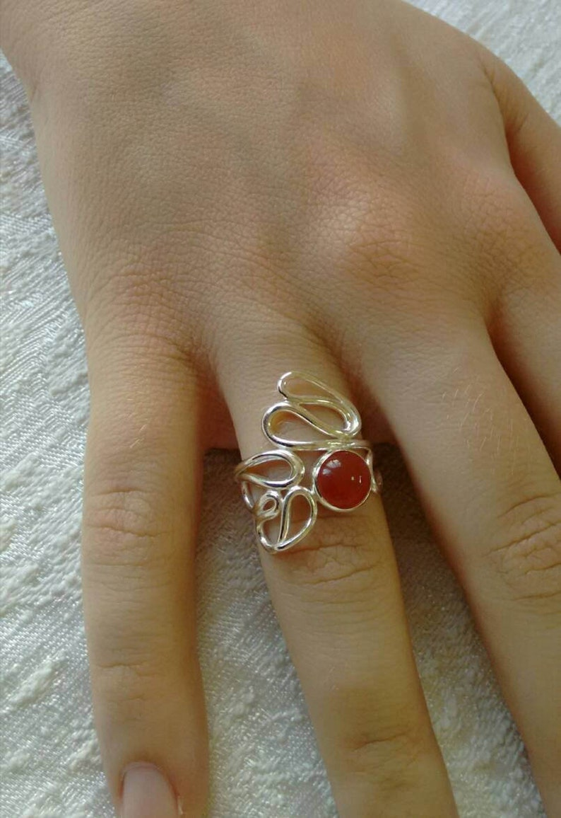 nature inspired ring. Carnelian Ring Sterling Silver Statement Ring One of a Kind Flower Shape ring