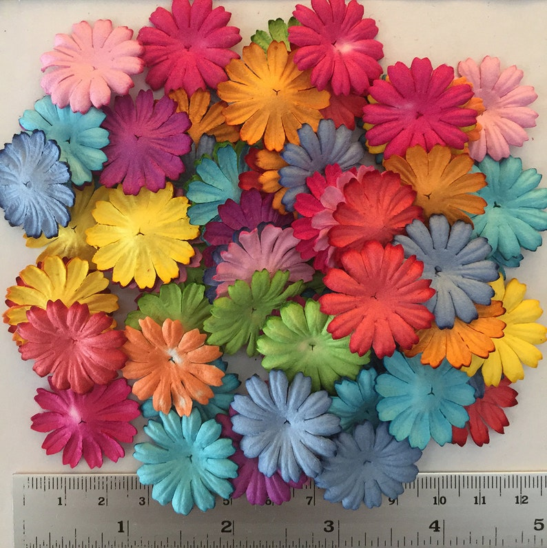 Wholesale 100 Daisy Mulberry Paper Flowers Mixed Color Paper Etsy