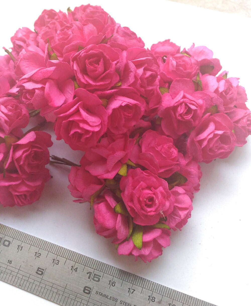 50 Big Hot Pink Mulberry Roses Paper Flowers Size 3 Cm Etsy