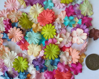 Mixed 100  Daisy & Blossom Mulberry Paper Flowers  Assorted MixedColor Tone  Size 1 inch  Embellishment Scrapbooking