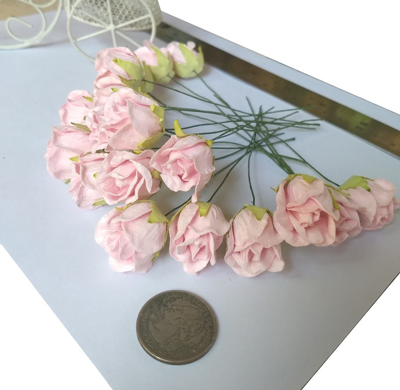 Lot 20 Sweet Light Pink Color Rose Buds Paper Craft Flowers Size 1 Inch Embellishment Scrapbooking