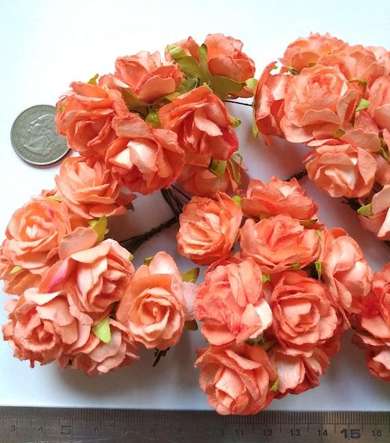 Big Size 50 Big Light Orange Mulberry Roses Paper Flowers Etsy
