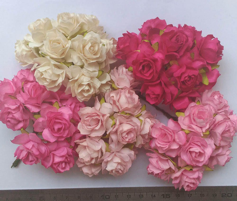50 Mixed Pink Tone Color Big Mulberry Roses Paper Flowers Etsy