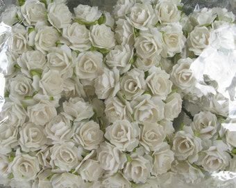 100 White Mulberry Roses  Paper Flowers Size 20 mm (0.9 inch)   Medium Size  Wholesale