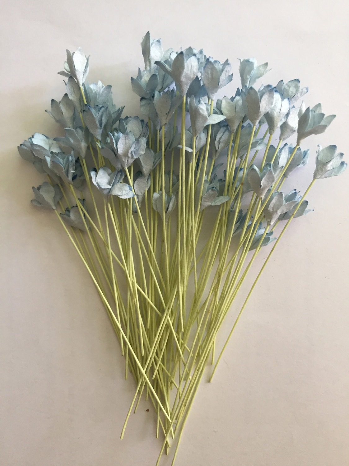100 Light Blue Gypso Mulberry Paper Flowers 05 Inch With Etsy