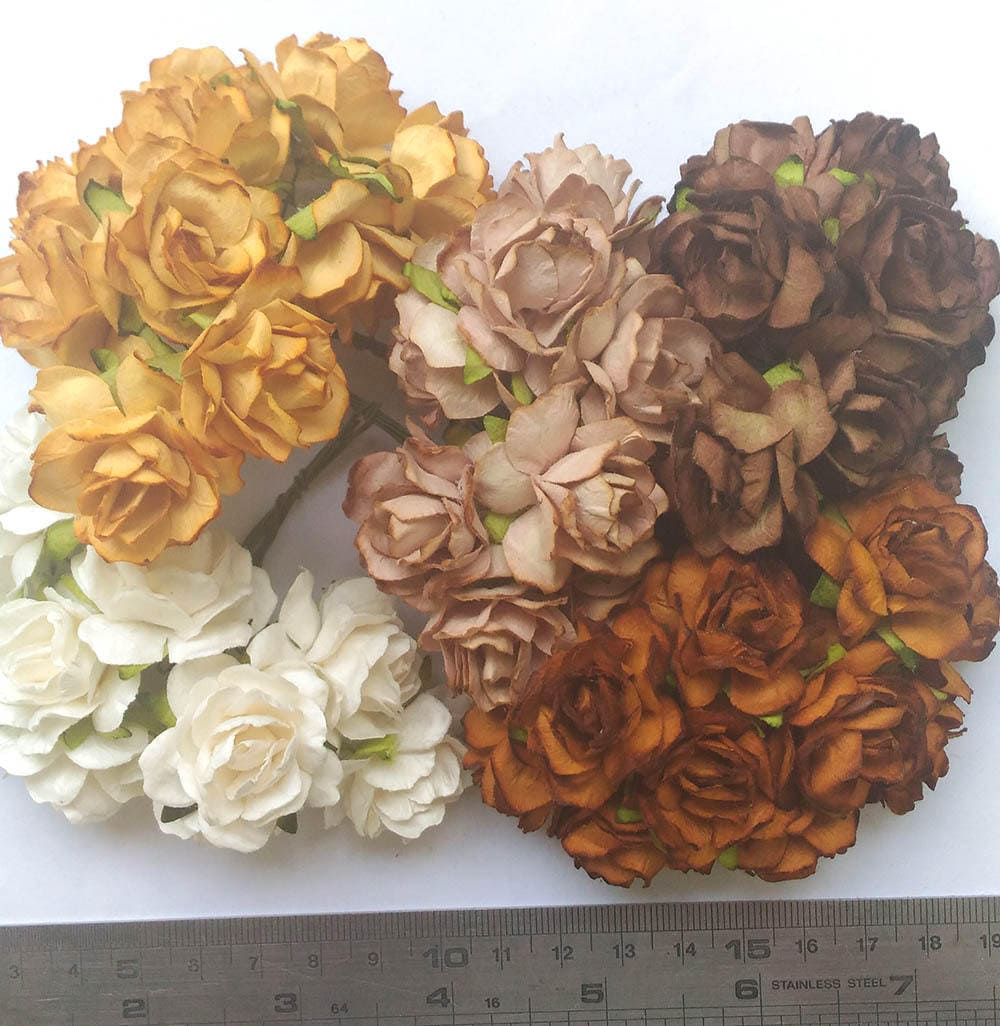50 Mixed Brown Color Tone Mulberry Paper Roses Flowers Size Etsy