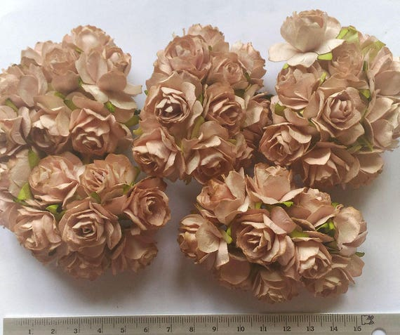 Big Size 50 Light Brown Color Big Mulberry Roses Paper Etsy