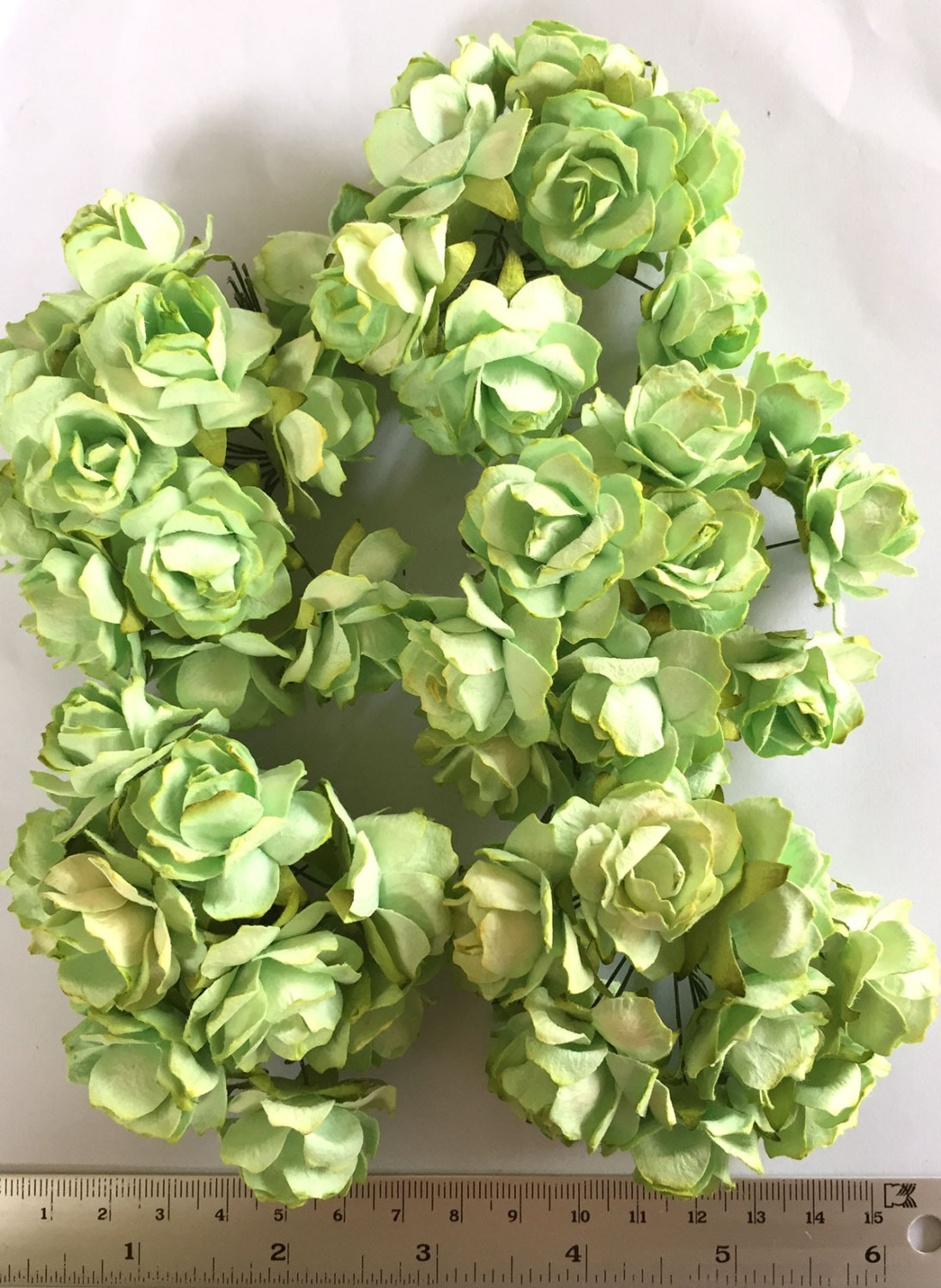 50 Mint Green Color Jumbo Mulberry Paper Flower Roses Size Etsy