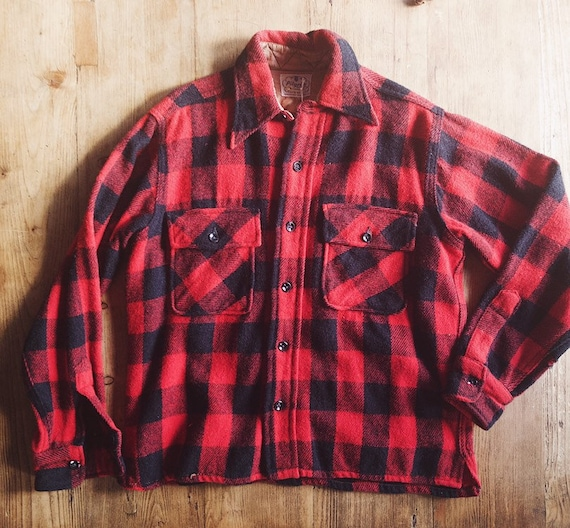 1950s Pilgrim Buffalo Plaid Shirt Jacket
