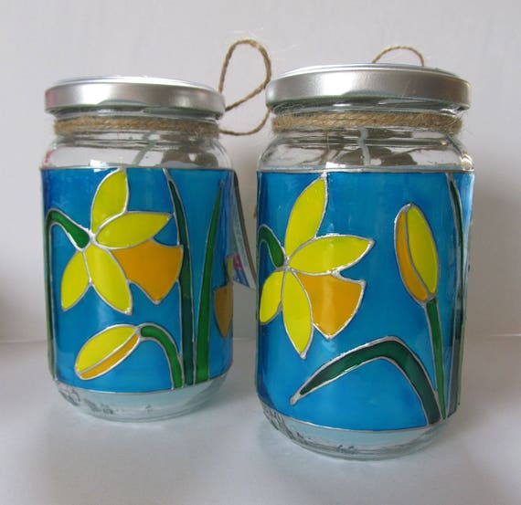 Handpainted Upcycled Glass Jar Candles Spring Yellow Etsy