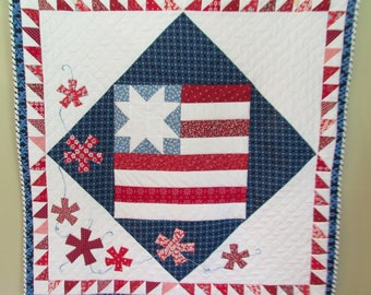 PATTERN Flag Quilt Pattern/Patriotic Pattern/4th of July/Flag Quilt/Military Quilt/Retirement Gift/Patriotic Quilt Pattern