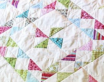 Modern Baby Quilt/Star Baby Quilt/Baby Girl Quilt/Pink and Green Quilt/Star Baby Crib Quilt/Large Baby Quilt
