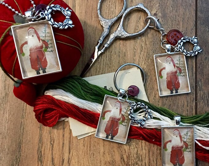 Santa with Sheep -  Thread Keep - Scissor Keep - Needle Keep - Necklace Keep
