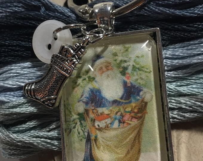 Santa #6 Twelve Days of Santa Series -  Thread Keep - Scissor Keep - Needle Keep - Necklace Keep - Zipper Keep