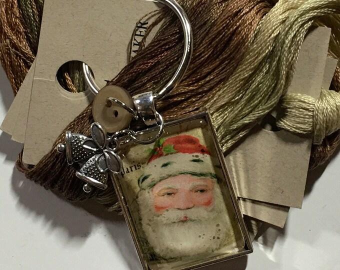 Santa #2 Twelve Days of Santa Series -  Thread Keep - Scissor Keep - Needle Keep - Necklace Keep - Zipper Keep