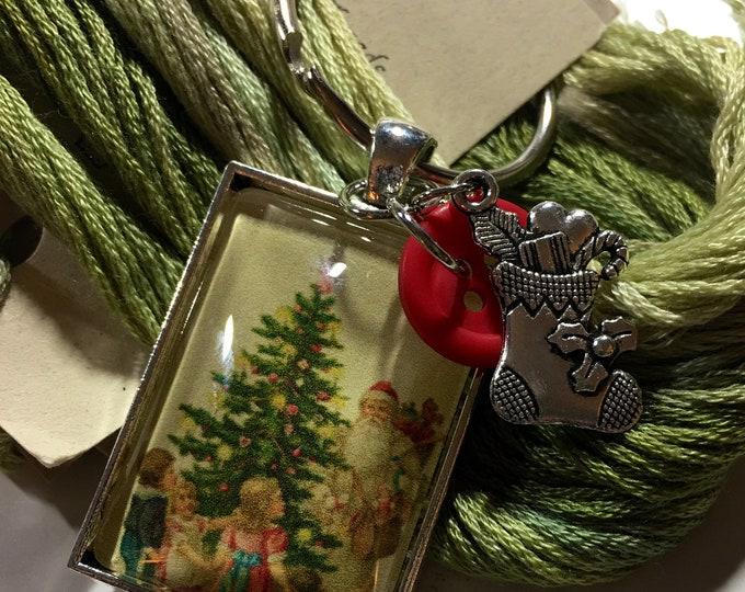 Santa #8 Twelve Days of Santa Series -  Thread Keep - Scissor Keep - Needle Keep - Necklace Keep - Zipper Keep