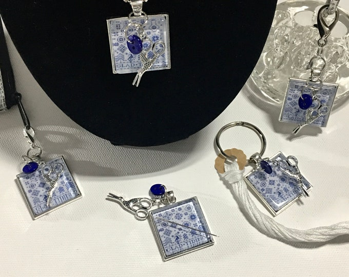 Exclusive - Quaker Snowflakes - released by Hello From Liz Matthews Thread Keep - Scissor Fob - Needleminder - Zipper Pull - Necklace