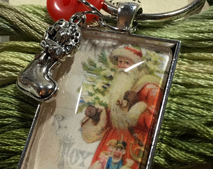 Santa #5 Twelve Days of Santa Series -  Thread Keep - Scissor Keep - Needle Keep - Necklace Keep - Zipper Keep