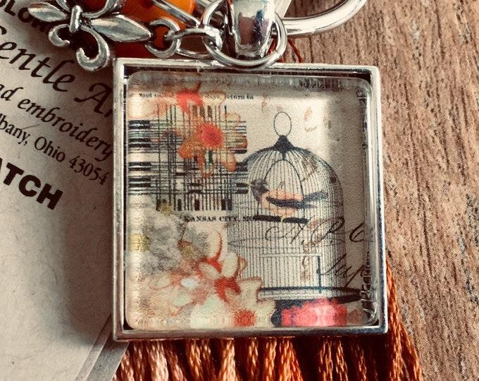 French Bird Cage -  Thread Keep - Scissor Keep - Needle Keep - Necklace Keep