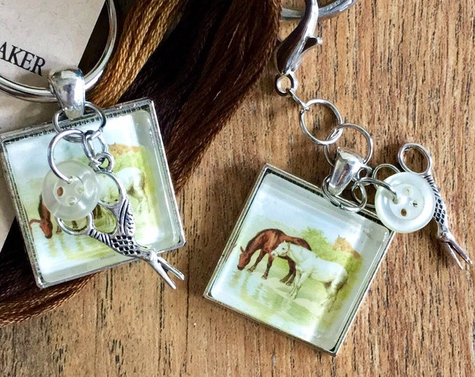 Farm Animals - Horses -  Thread Keep - Scissor Keep - Needle Keep - Necklace Keep