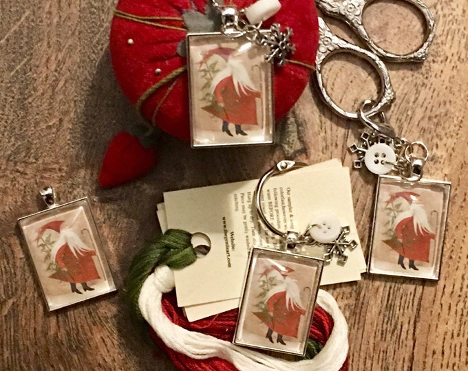 Santa with Primitive Tree and Cane -  Thread Keep - Scissor Keep - Needle Keep - Necklace Keep - Zipper Keep