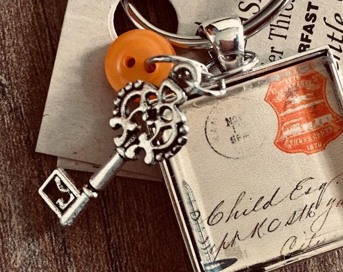 French Post Card -  Thread Keep - Scissor Keep - Needle Keep - Necklace Keep