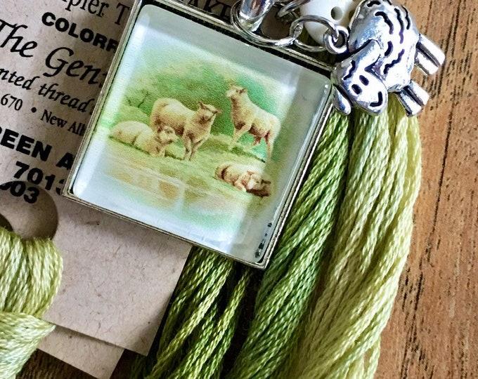 Farm Animals - Sheep-  Thread Keep - Scissor Keep - Needle Keep - Necklace Keep