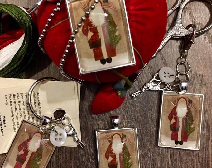 Santa with American Flag -  Thread Keep - Scissor Keep - Needle Keep - Necklace Keep
