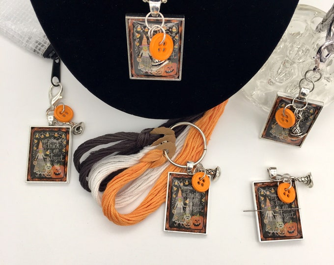 Exclusive - Trick or Treat - Priscilla & Chelsea of Stitching w/Housewives Thread Keep - Scissor Fob - Needleminder - Zipper Pull - Necklace