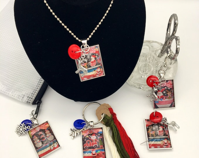 Exclusive - Patriotic Christmas Stitching w/Housewives  Thread Keep - Scissor Fob - Needleminder - Zipper Pull - Necklace