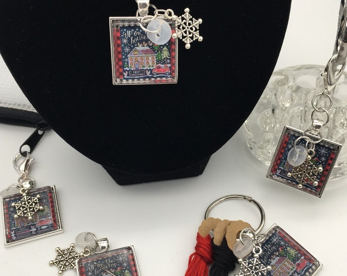 Exclusive - Up on the Housetop Priscilla & Chelsea Stitching w/Housewives Thread Keep - Scissor Fob - Needleminder - Zipper Pull - Necklace