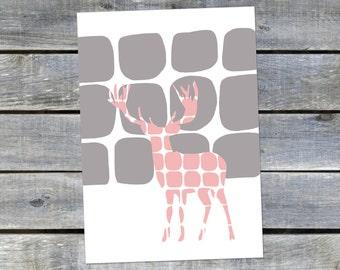 Postcard {pink deer}