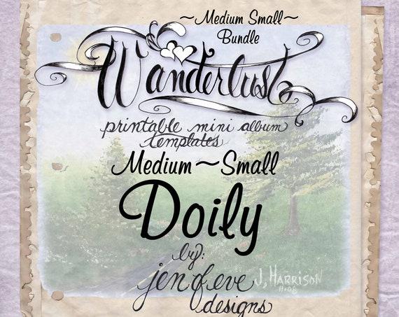 Wanderlust~DOILY & Plain~Medium Small~ Bundle~Printable Mini album Templates