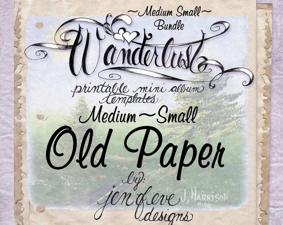 Wanderlust~OLD PAPER & Plain~Medium Small~ Bundle~Printable Mini album Templates