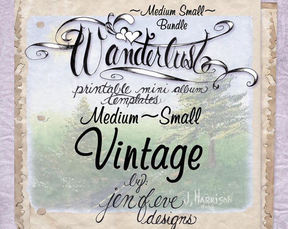 Wanderlust~VINTAGE & Plain~Medium Small~ Bundle~Printable Mini album Templates