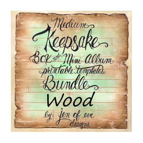 MEDIUM Keepsake Box & Mini Album Printable Template in WOOD Plank and Plain