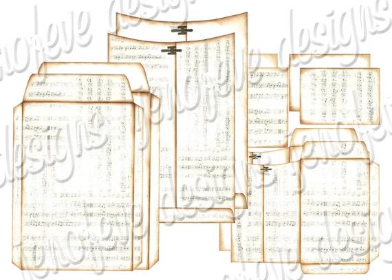 6x9 Printable Envelope Album Music Notes & Plain Templates