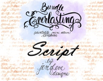 Everlasting & Mini Everlasting Printable Mini album Template Bundle in SCRIPT and PLAIN