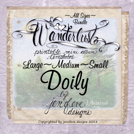 Wanderlust~DOILY & Plain~ALL SIZES Bundle~Printable Mini album Templates