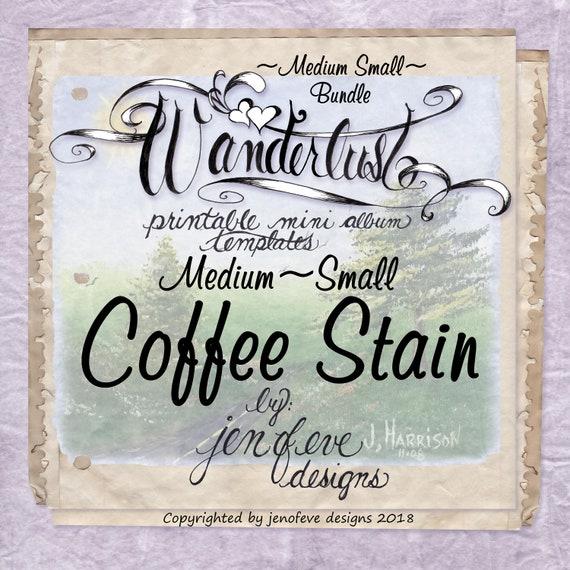 Wanderlust~COFFEE STAIN & Plain~Medium Small~ Bundle~Printable Mini album Templates
