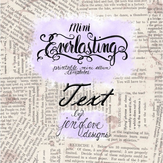 Mini Everlasting Printable Mini album Template in Text and PLAIN